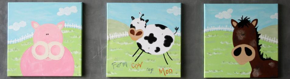 farm animals art on canvas